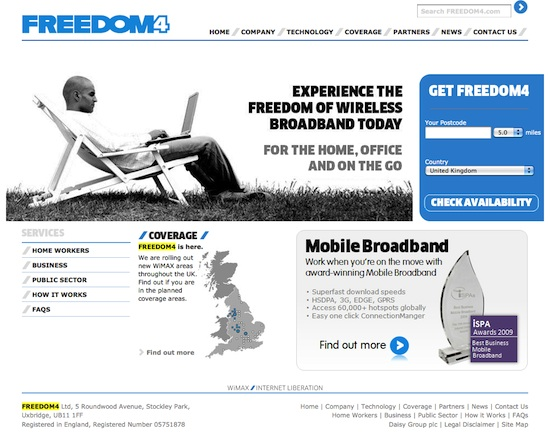 Freedom4 UK WiMAX broadband provider